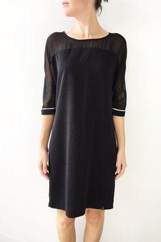 Robe tunique noire à manches diaphanes - Comme neuve