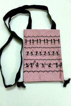 Traditional Warli Printed Two Pocket Cross Body Belt #Bag - Silk  #handbags #craftshopsindia