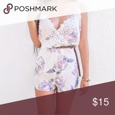 Floral romper Floral romper // x on straps (back) Pants Jumpsuits & Rompers