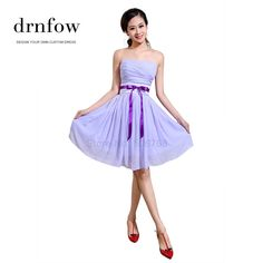 2014 New Bridesmaid Dresses Wedding Party Strapless lilac light purple size 4 6 8 10 12 14 16 dress Chiffon short lace-up
