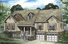 Traditional Style House Plans - 2010 Square Foot Home , Split entry Story, 3 Bedroom and 2 Bath, 2 Garage Stalls by Monster House Plans - Plan 12-393
