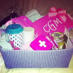 Phi Mu spa gifts.  Love the homemade grapefruit sugar scrub in there. (Modified for the one and only AGD, of course!)