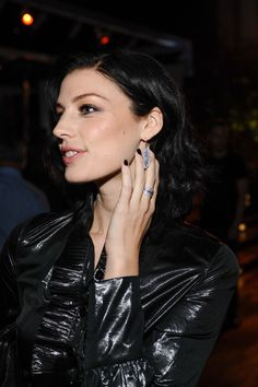 Actress Jessica Paré wore PANDORA feather ring and earrings at the PANDORA ESSENCE COLLECTION launch party in Los Angeles. #PANDORAcelebrity #JessicaPare #LaunchParty