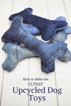 Treat your dog to some really cute handmade dog toys made from your old jeans.  Complete with squeakers.
