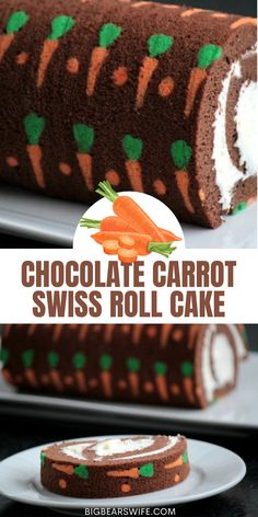 """This Chocolate Carrot Swiss Roll Cake is a chocolate sponge cake with super cute mini cake carrots baked right in! Then this """"carrot"""" cake is filled with a cream cheese frosting and rolled up into a giant swiss roll cake! via @bigbearswife Cute Easter Desserts, Easy Easter Recipes, Easter Dinner Recipes, Easter Decor, Easter Crafts, Cupcake Cakes, Cupcakes, Chocolate Sponge, Sponge Cake"""