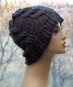c718d71e5 Cable Knit Hat Winter Hats Beanie Chunky Tam, Winter Adult Accessory, Mens,  Womens, Teens, Hat in Grey Charcoal