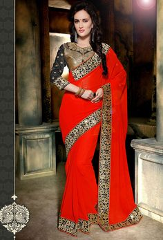 #Red Georgette #Designer #Saree #nikvik  #usa #designer #australia #canada #freeshipping #sari