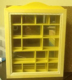 Charming Shadow Box Hanging Display Cabinet For Fine Miniature Collectors Decorative  Distressed Yellow W/ Mirror Backing
