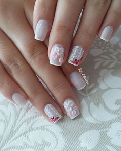 20 Modelos de unhas fancesinhas com flor; veja: Colorful Nail Designs, Perfect Nails, Simple Nails, Manicure And Pedicure, Wedding Nails, Hair And Nails, Nail Colors, Nail Art, My Favorite Things