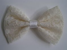 Ivory Lace Bow hair bow hairbow bows bowsBow by ClipaBowBoutique, $3.99