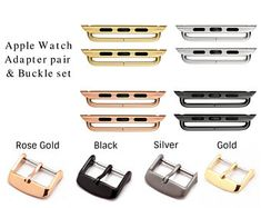 Apple Watch Strap Adapter and Buckle Set iWatch Connector Apple Watch Leather, Android Watch, Swiss Army Watches, Baby Bows, Apple Watch Bands, Quartz Watch, Black Silver, Rose Gold, Unique Jewelry