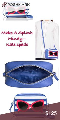 Make A Splash Mindy Host Pick Adorable sunglass cross-body, in with blue an white stripe..saffiano textured grainy vinyl with matching trim...jacquard lining , cross-body with zip top closure, has adjustable strap, interior slide pocket, still in original packaging, #PoshLoveFallFashion 12-6-2016. A-1 kate spade Bags Crossbody Bags