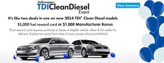 Check out our TDI Clean Diesel Event; it's like two #deals in one! $1,000 fuel reward card + 0.9% APR http://www.commonwealthvw.com/specialsdetails.aspx?_specialitem=49588