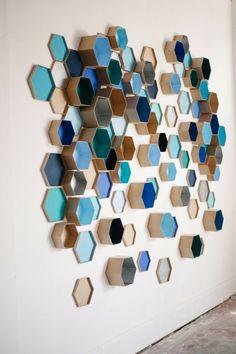 motif hexagone -décoration-murale-diy-boîtes-carton-forme-alvéole