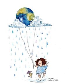'Let's look after our planet' by MankaKasha Girl Drawing Sketches, Cute Drawings, Watercolor Illustration, Watercolor Paintings, Art Journal Inspiration, Whimsical Art, Cartoon Art, Cute Wallpapers, Cute Art
