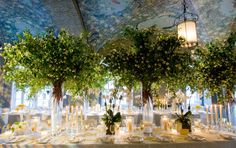 The outdoors were brought in with a ceiling full of foliage and large green centerpieces. Designed by celebrity event planner Jung Lee. Tree Wedding, Wedding Art, Floral Wedding, Wedding Flowers, Wedding Ideas, Forest Wedding, Wedding Stuff, Event Planning Design, Event Design