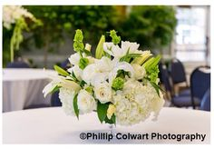 Green and white low centerpiece