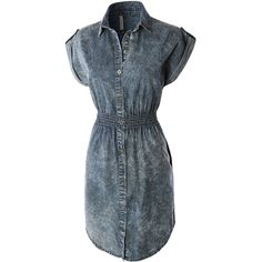 LE3NO Womens Classic Sleeveless Chambray Jean Denim Shirt Dress ($29) ❤ liked on Polyvore featuring dresses, denim shirt-dress, shirt dress, sleeveless dress, slimming dresses and denim dress