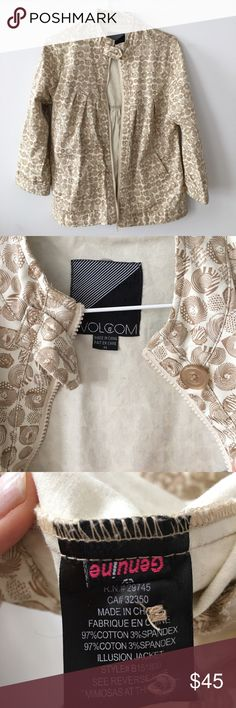 "Volcom light weight cotton jacket limited edition ""Mimosas at the beach"" limited edition artist feature from top active wear brand Volcom. Unique and not reproduced pattern and shape. 3/4 length sleeves, size medium women's zip front with button finish details. Cream and beige color, great jacket for the Summer season. Volcom Jackets & Coats Utility Jackets"