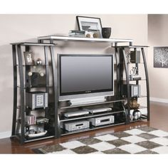 Shop Coaster Entertainment Center at Homelement for the best selection and price online. Shop Entertainment Center and more. Home Entertainment, Glass Entertainment Center, Contemporary Entertainment Center, Black Tv Console, Home Theater Furniture, Fine Furniture, House Furniture, Furniture Outlet, Sofa Furniture
