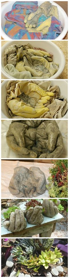 DIY Concrete Garden Hands to Use as Planters or Pots for your Garden, Lawn, or Yard Concrete Crafts, Concrete Garden, Concrete Projects, Outdoor Projects, Concrete Planters, Concrete Slab, Garden Crafts, Garden Projects, Diy Projects