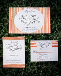 peach and gold diy wedding stationery #weddingivitations #peachwedding #weddingchicks http://www.weddingchicks.com/2014/03/26/peach-wedding-in-colorado-wine-country/