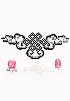 Eternal Knot and ribbon cloud design from a selection of other 'symbol' designs:   https://store.tashimannox.com/tattoo_catalog/symbols/filters/page=all