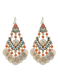 bead and medallion chandelier earrings
