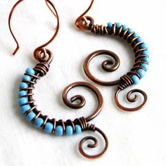 Copper and Turquoise Earrings Antique Copper by KariLuJewelry