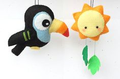 PDF Pattern Felt Toucan and Sun Ornament por typingwithtea en Etsy