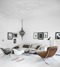 White, modern living room! Beautiful and cozy