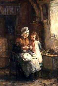 Dropping A Stitch  ~ Hugh Cameron ~ (Scottish: 1835-1918)
