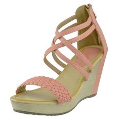 Womens Platform Sandals Weaved Strappy High Wedge Shoes Orange SZ 9 ** You can find out more details at the link of the image.