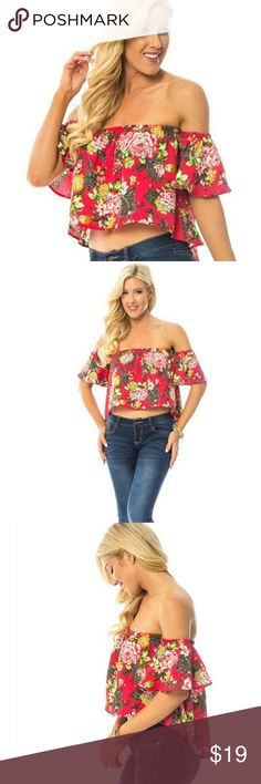 Red floral Hawaiian off the shoulder crop top Fiesta anyone? Don't just show up to a party, show up to a party looking and feeling your best! And we've got just the thing for you- this gorgeous and flirty red floral off shoulder crop top! Tired of constantly adjusting your off the shoulder tops? Well this blouse solves your first world problems with additional elastic around the arms as well!  100%Polyester  #BBFASHION Tops Crop Tops
