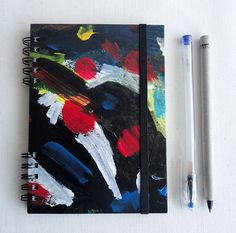 Journal Notebook Black Elastic band Hand painted por kinmcuadernos, €12.00
