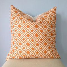 Orange and White Geometric Pattern Decorative by pillowplush, $26.00