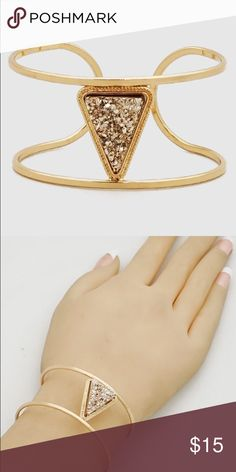 Rose gold faux Druzy triangle cuff bracelet New! Gold tone 2 diameter cuff bracelet . Light rose gold...almost gold in color faux Druzy . Bundle and save 15%. No trades.  PRICE FIRM if not bundled. Jewelry Bracelets