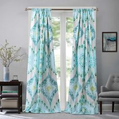 Ln 2 Piece Teal Green Bohemian Window Curtain Set 84 Inch Blue Medallion Drapes Moroccan Tribal Cascade Quilt Pattern Geometric Window Drapery Lined Sheer Curtain Panels, Curtain Sets, Window Panels, Green Curtains, Drapes Curtains, Curtains Living, Luxury Home Decor, Quilt Sets, Home Decor Outlet