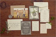 elegant grey invites by Paper Cut Industries