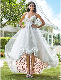 Wedding Dress A Line Asymmetrical Organza V Neck With Flower Pattern and Sash. Grab unbeatable discounts up to 70% Off at Light in the box using Coupons.