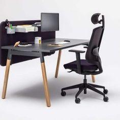 Alpha Black & Wood Desk | Spaceist Furniture Wood Office Desk, Oak Desk, Office Desks, Bureau Design, Bureau Open Space, Laminate Colours, Oak Panels, Work Station Desk, Adjustable Height Desk