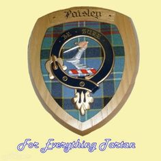 Clan Paisley Tartan Woodcarver Wooden Wall Plaque Paisley Crest 7 x 8