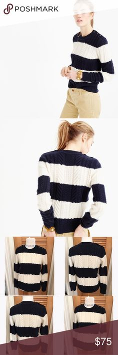 "J.Crew Perfect Cable Sweater in Stripe We've been making cable sweaters for over 20 years. So when we say ""perfect,"" we're not messing around. This style also features chic shoulder buttons for a fun finishing touch. - Lambswool - Rib trim at neck, cuffs and hem. - retailed for $110 - excellent condition with no stains - loose knit as shown - size small - !!NO TRADES!! J. Crew Sweaters"