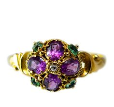 Victorian garnet and emerald cluster ring