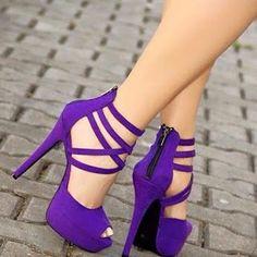 purple stiletto high heel women shoes