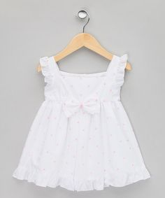 Lina Baby - White & Pink Embroidered Ruffle Dress - Infant & Toddler
