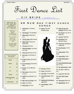 DIY Bride blog has created a list of first dance songs for brides who are still unsure of what song to dance too. The songs on this list has been inspired by new age/rock love songs.