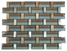 """Glossy Blue and Brown & Beige Marble & Silver Aliminum Authentic Glass Mosaic Sheet Size: 14"""" x 10 3/4"""" x 3/8"""" Tile Size: Randoms Type: Glass, Stone, Aliminum Finished: Glossy, Matte, Polished HTCMS7"""