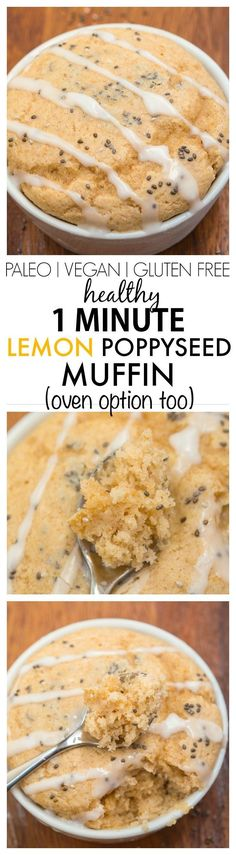 Healthy 1 minute Lemon Poppyseed Muffin- Moist and fluffy on the inside and tender on the outside, these have NO butter, oil or sugar in them but you'd never tell- Oven option too! {vegan, gluten free, paleo recipe}- http://thebigmansworld.com
