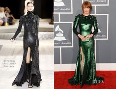 Florence Welch In Givenchy Couture – 2013 Grammy Awards | Red Carpet Fashion Awards.   The dual nominee walked the red carpet in a custom gown that was modified from a Givenchy Fall 2009 Couture design. Offering a fresh and oversized spin on the studded trend, the gown shown with a full-on sequined design and a sultry thigh-grazing slit.  The singer accessorized with matching green strappy sandals and a box clutch, also by Givenchy.